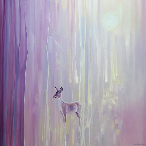 Beautiful - an original oil painting abstract with deer