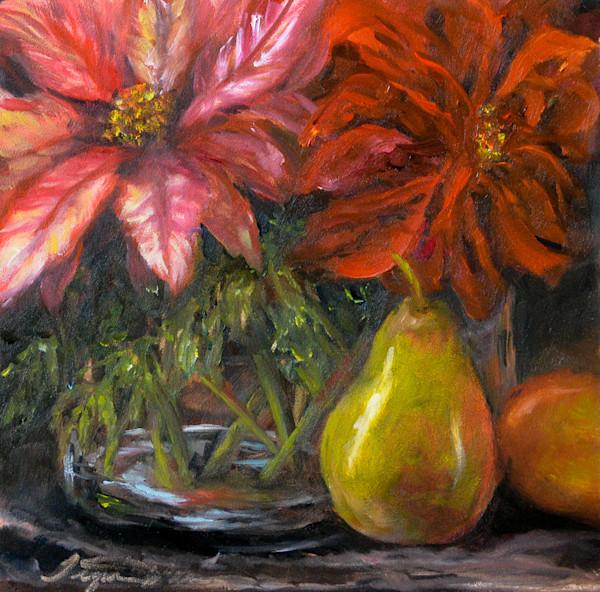 Poinsettia and Pear Print