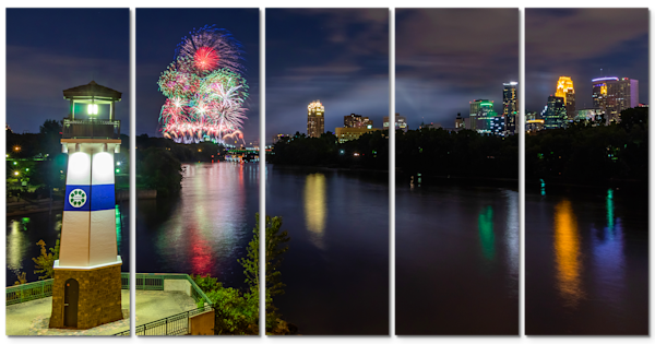 5-Piece Minneapolis Canvas Wall Art - Aquatennial Fireworks 5