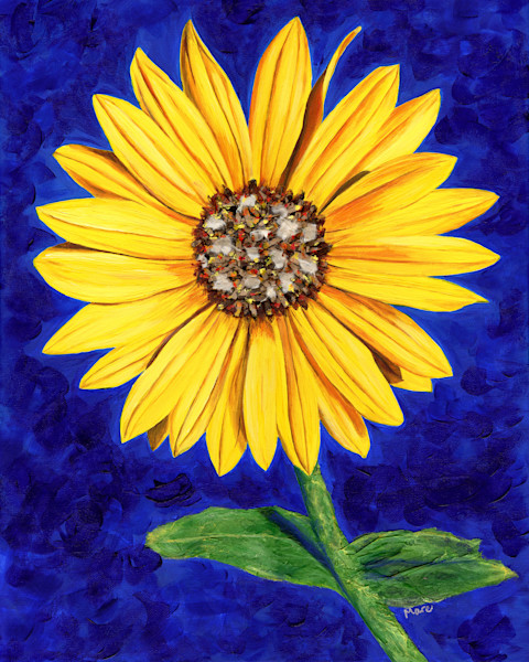 Original mixed media painting of a sunflower by Mary Anne Hjelmfelt.