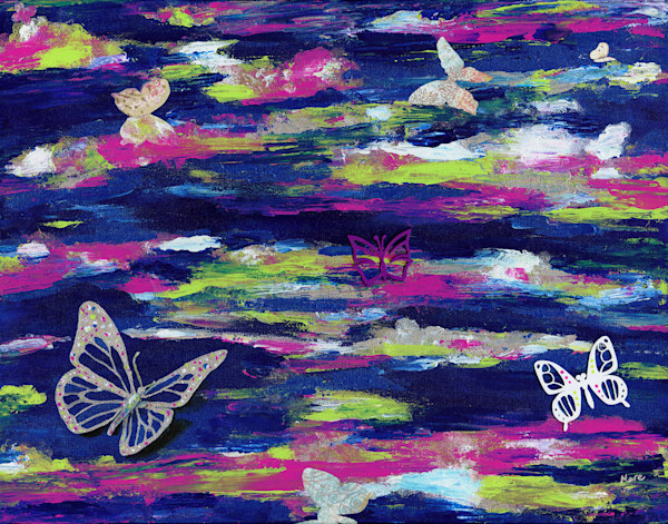 "Original artwork 20"" x 16"" mixed-media acrylic painting with 3D printed butterflies by Mary Anne Hjelmfelt titled 'Metamorphosis'"