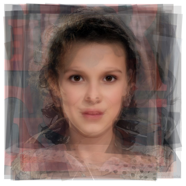 Overlay art – contemporary fine art prints of a portrait of Millie Bobby Brown from Stranger Things