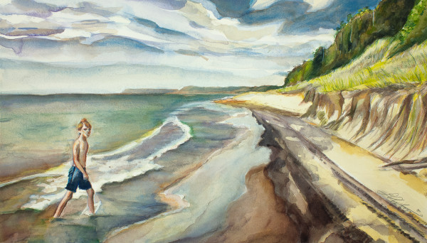 A young man wades ashore on Lake Michigan, looking at the viewer. Dunes and forests stretch out behind into the distant coastline. Available in paper and canvas. Print of watercolor original.