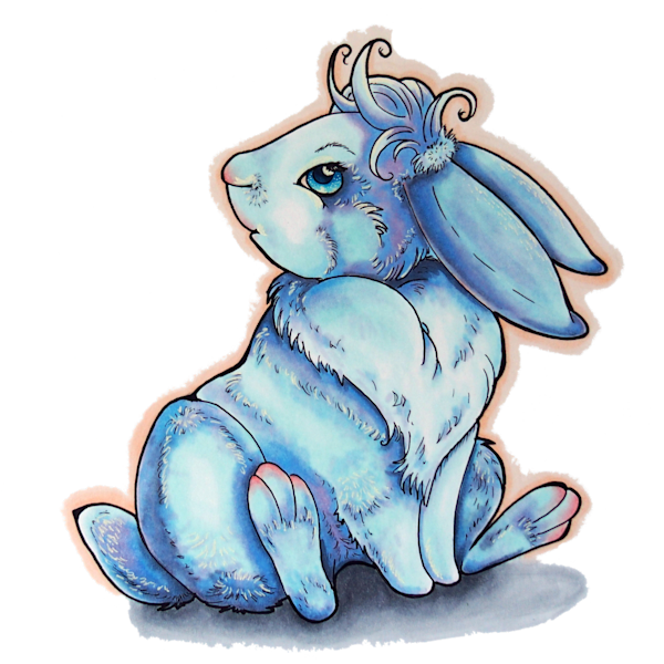 Blue Fever Rabbit - Original