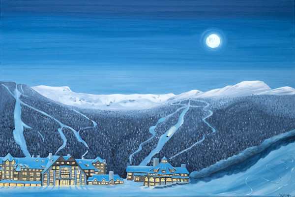 Stowe Mountain Lodge at Night Art for sale