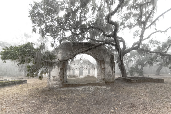 Foggy Church Ruins