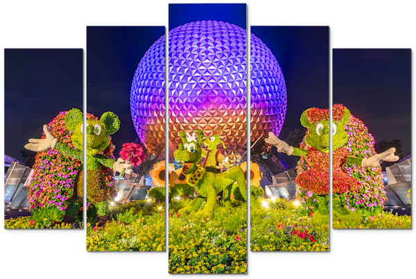Spaceship Earth at Night 10 - Disney Canvas Art | William Drew