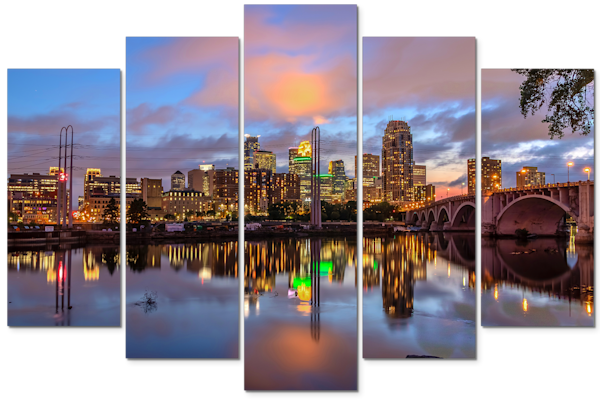 Minneapolis Dusk Reflection - 5-Piece Canvas Art | William Drew