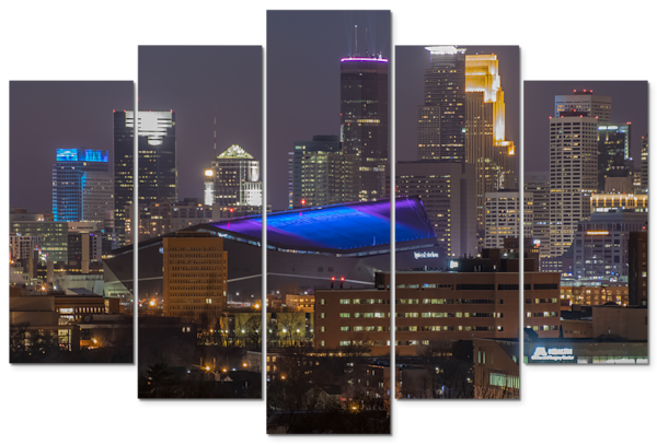Minneapolis Super Bowl - 5-Piece Canvas Art | William Drew