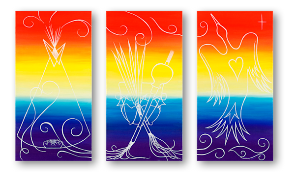 """NAC"" Triptych art wall canvas by LeAnne Kalihwiyostha Thompson."