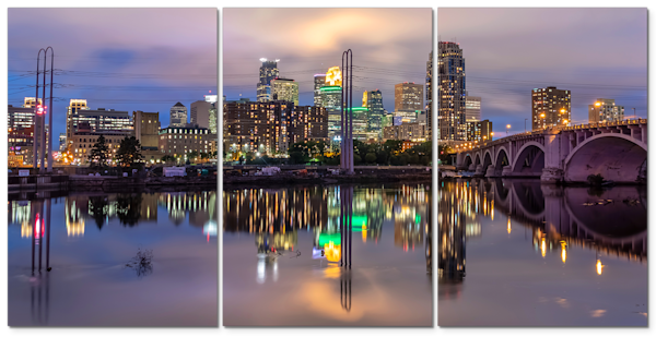 3 Panel Art - Minneapolis Skyline Reflection 2 | William Drew