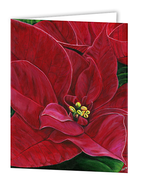 Uniquely made greeting cards in an 8 pack set printed with original artwork of Poinsettia Passion by Mary Anne Hjelmfelt