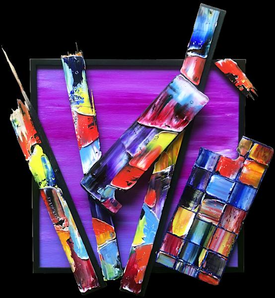 Splintered mixed media sculptural painting