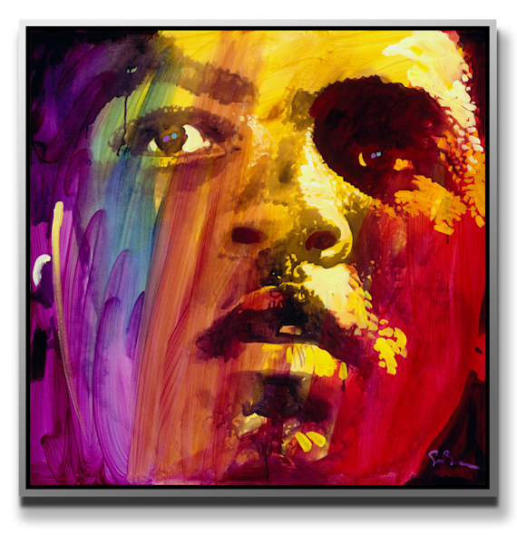 ALI (Red) Print on Metal by Simon Bull