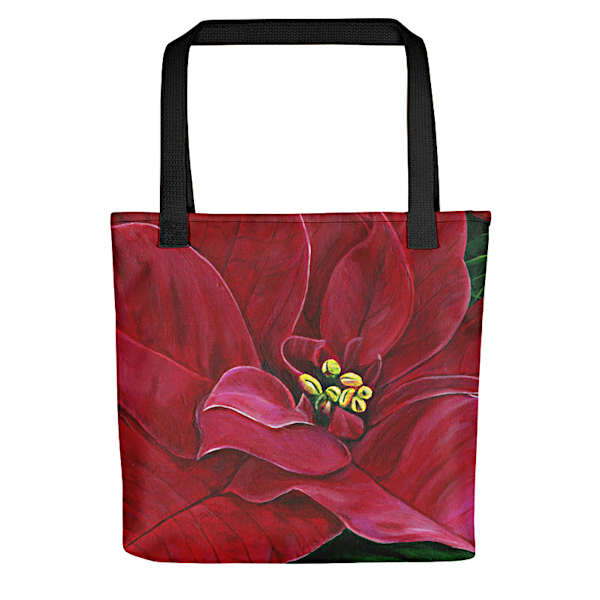 "Stylish, colorful tote bags with original artwork of ""Poinsettia Passion"" by Mary Anne Hjelmfelt printed on them."