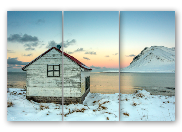 Iceland Winter Cabin in triptych