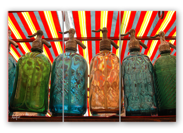 Seltzer bottles Argentina triptych