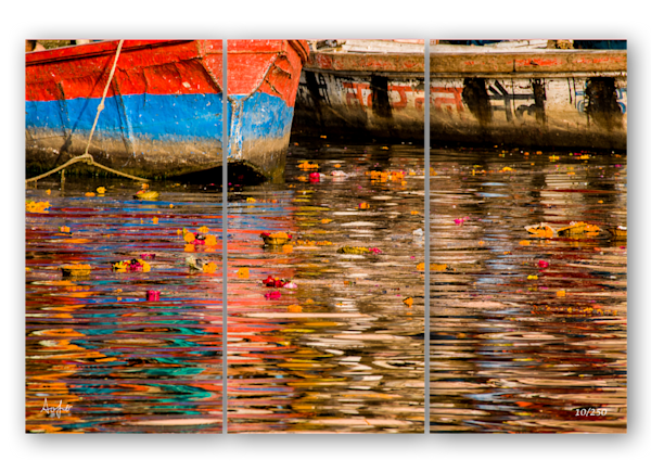 Ganges River Reflection Triptych