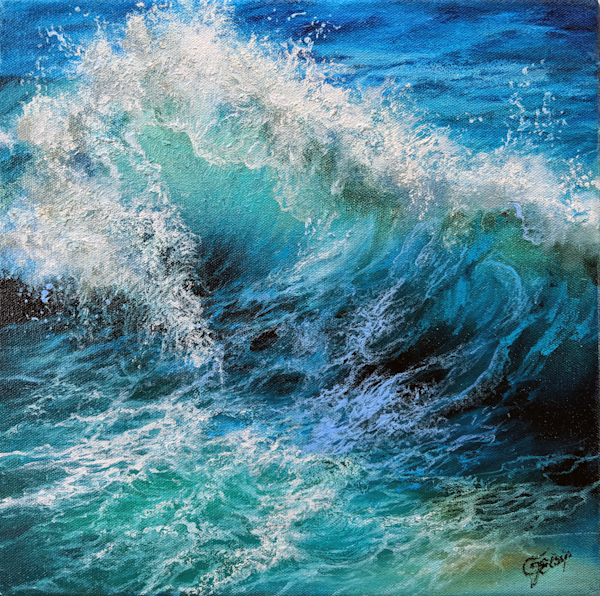 Blue Exuberance Wave Painting