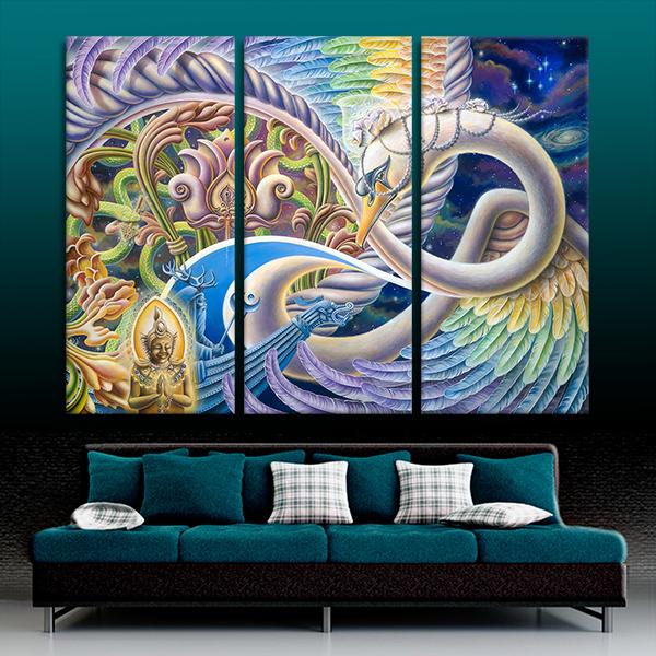 Once I Meta Swan (Polyptych) Art | Ishka Lha