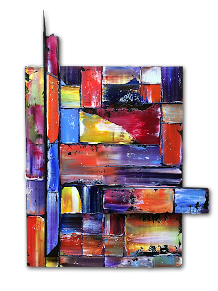 Tetris assembled sculptural abstract painting