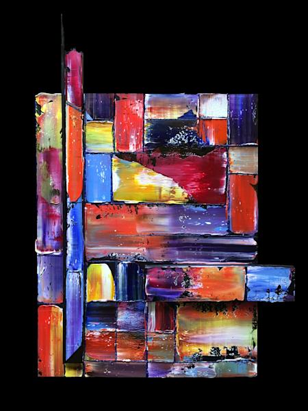 Tetris assembled sculptural abstract painting
