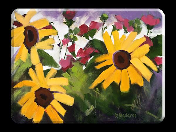 Three Sunflowers Small Glass Decorative Cutting Board