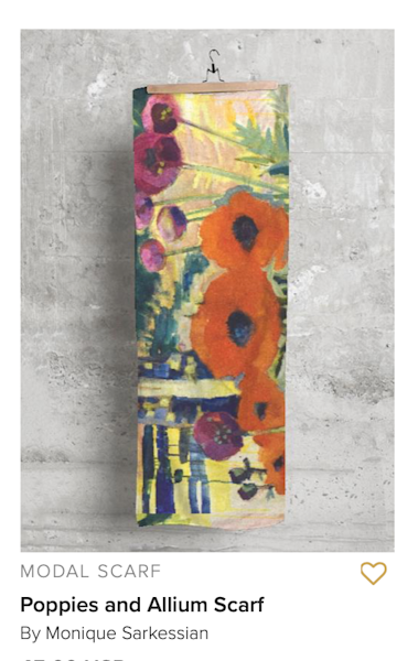 Handprinted Modal  Scarf Red Poppies Flowers Art | Monique Sarkessian Fine Art Gallery and Studio