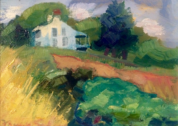 """Original plein air oil painting, """"Where Your Glory Dwells 85' of a beautiful Chester County Farm by Monique Sarkessian, oil and mixed media on wood, 5x7""""."""