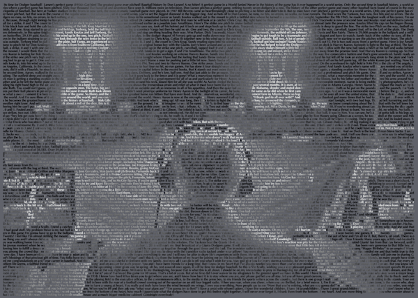 Unique Vin Scully portrait made using only the words from his most famous calls