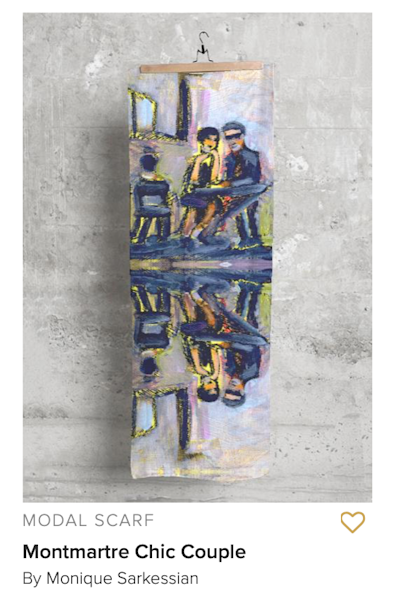 "Handprinted modal scarf with ""Montmartre Paris Chic Couple"" by  Monique Sarkessian Image 27""x78"""