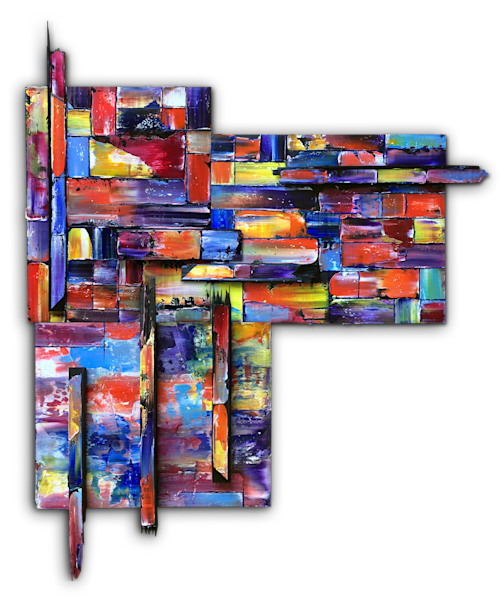 Block Out geometrical wall painting sculpture