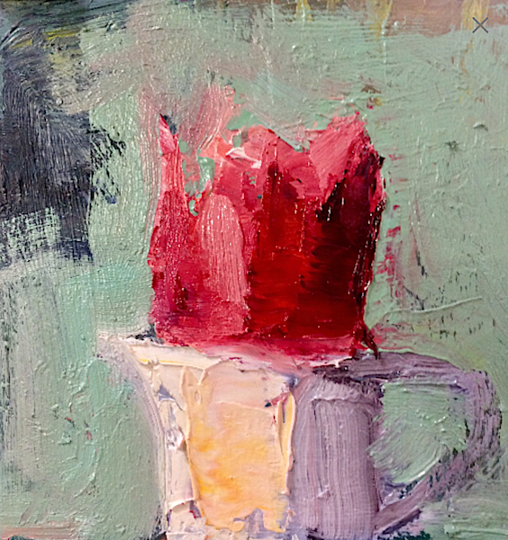 "Beautiful still life of a pink ruffled tulip perched in a tiny pitcher by Monique Sarkessian.. painting is  4""x4"" , oil on  wood panel mounted on a 6"" white  wood cradleboard"