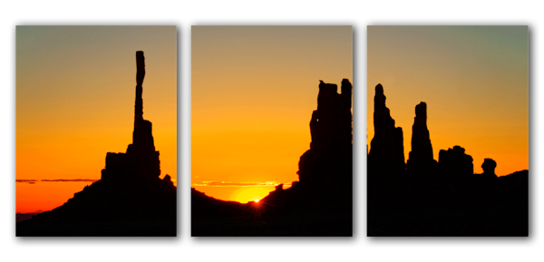 """Totem Pole Yea Bi Chei Sunrise"" triptych by Fred Neveu Photography."