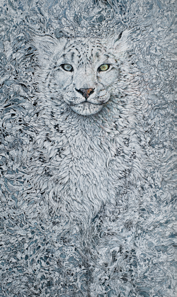 Winter's Ghost, Snow Leopard | Col Mitchell Contemporary Paper Artist