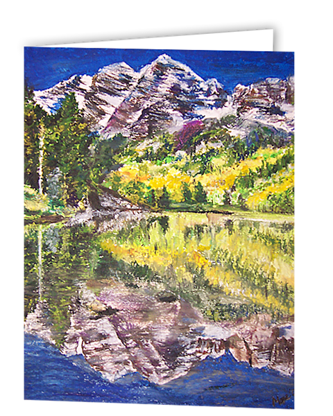 Uniquely made greeting cards in an 8 pack set printed with original artwork of My Maroon Bells by Mary Anne Hjelmfelt