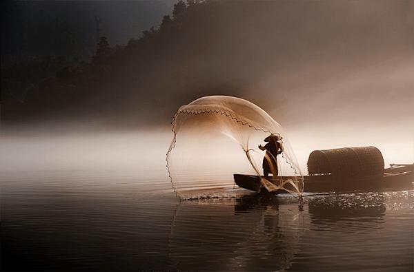 Peaceful fishing | Beperkte oplage kunst print | A-Galleria