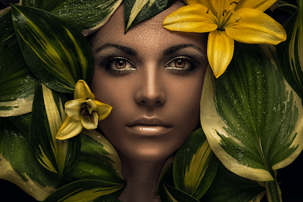 Flowergirl | Portret kunst print  Evgeni Kolesnik