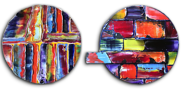 Circle Back diptych abstract tondo