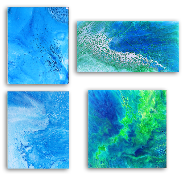 Tropical Storm fluid acrylic quadriptych