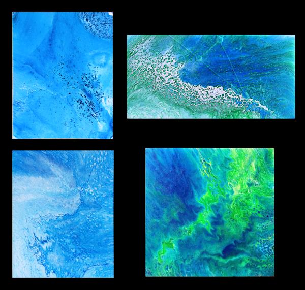 Tropical Storm fluid acrylic quadriptych