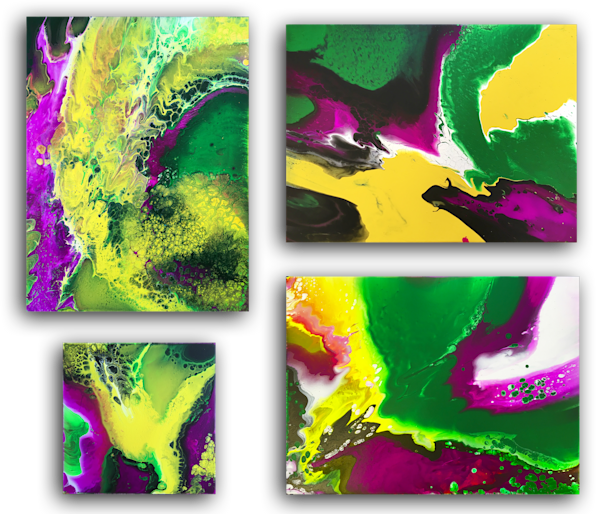 Beautiful Invasion fluid acrylic quadriptych