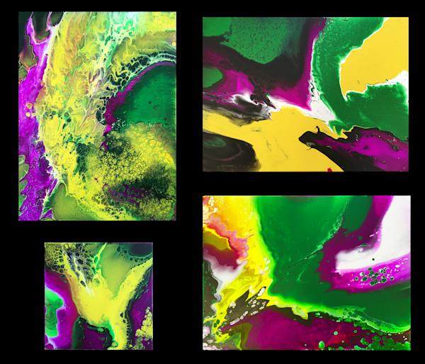 Beautiful Invasion fluid acrylic quadriptych