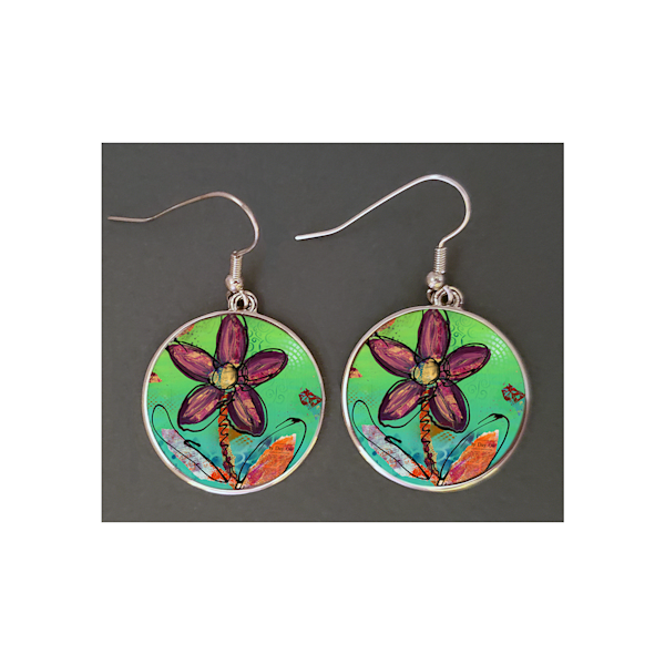 Playful Flower Round Earrings