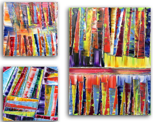 Jagged Series large abstract triptych