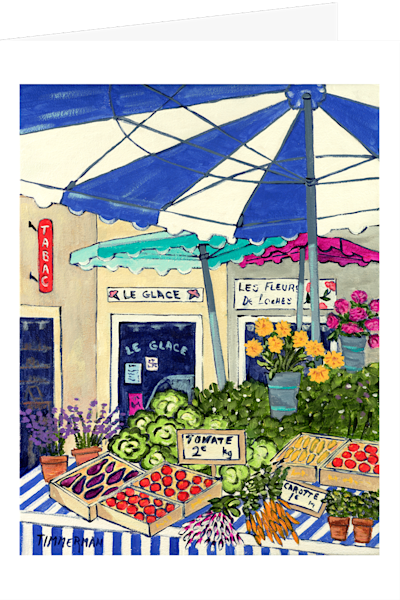 """Market in Provence"" fine art greeting card by Barb Timmerman."