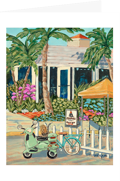 """Saturday Morning market"" fine art greeting card by Barb Timmerman."