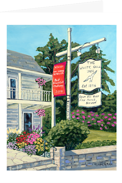 """The White Gull Inn"" fine art greeting card by Barb Timmerman."