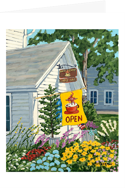 """Base Camp Coffee"" fine art greeting card by Barb Timmerman."