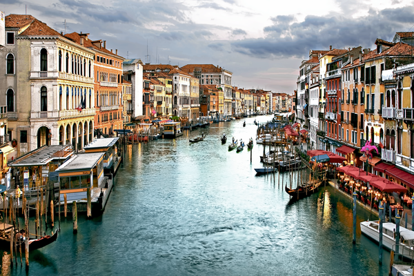 Venetian Canal and Sunset